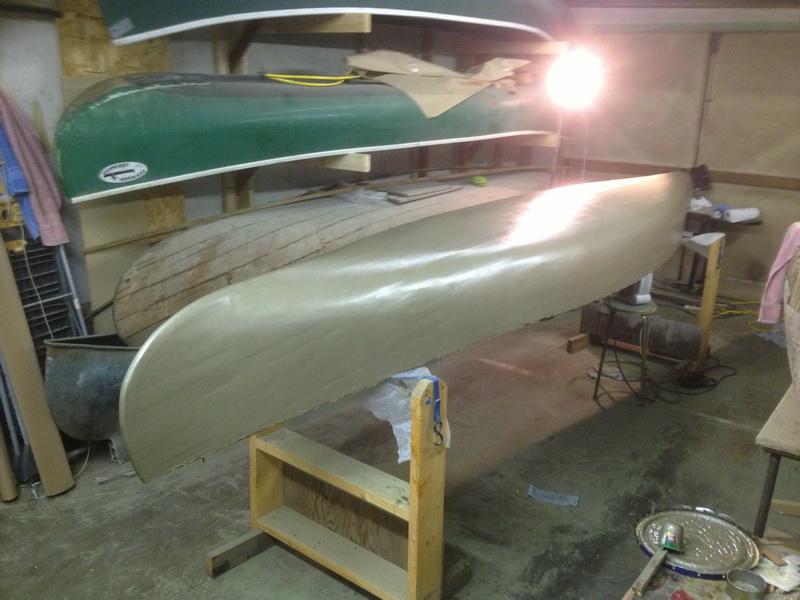 epoxy primer on canoe