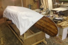 Dacron Fabric on Canoe Hull
